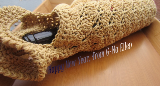 Camel colored wine tote.  Made with luscious Malabrigo Organic Cotton Yarn.