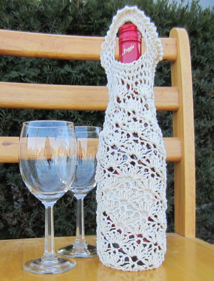 crochet, wine tote, etsy, blog, cotton yarn 009