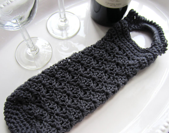 Crochet Lace Shell Wine Bag Tote Cozy PDF Pattern by GMaEllenCrochetGifts G...