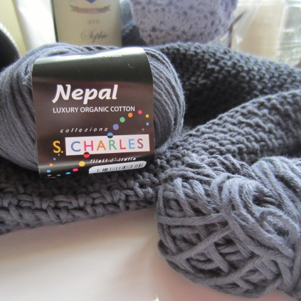 Crochet Cotton Slouchy Beanie, in Charcoal.