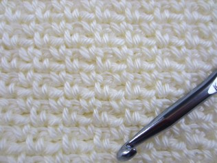 Close up, crochet Seed Stitch