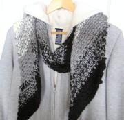 crochet, scarf, black and white, diagonal 004