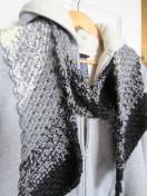 crochet, scarf, black and white, diagonal 005