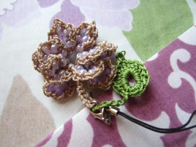 Lavender Beaded Crochet Rose, with leaf.