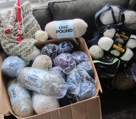 Together, probably 30 + POUNDS OF YARN> OMG!