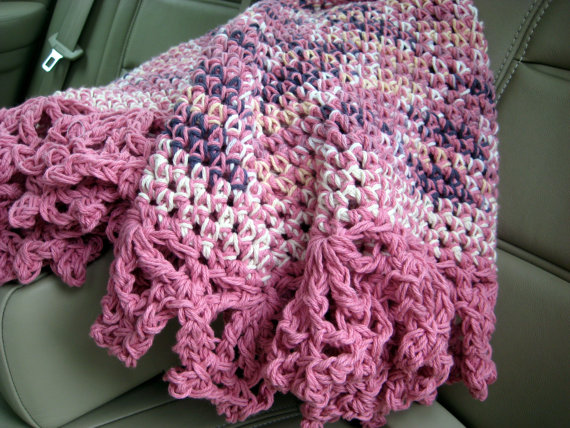 Handmade Crochet Pink Lapghan Throw Car by GMaEllenCrochetGifts