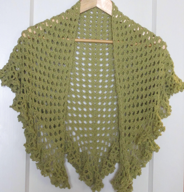 Ruffle Border Crochet Library Granny Scarf Green Shawlette 006
