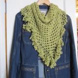 ruffle border, crochet library, granny scarf, green, shawlette 008