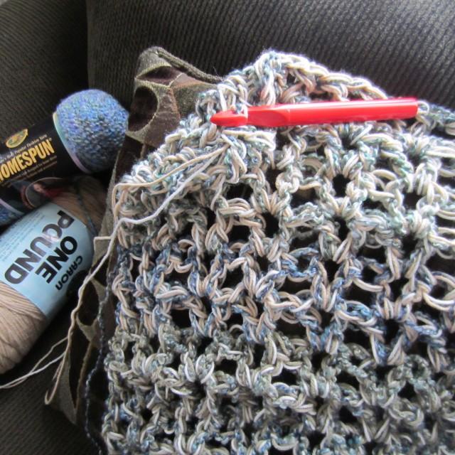ruffle yarn, destash afghan, knit, crochet, 009