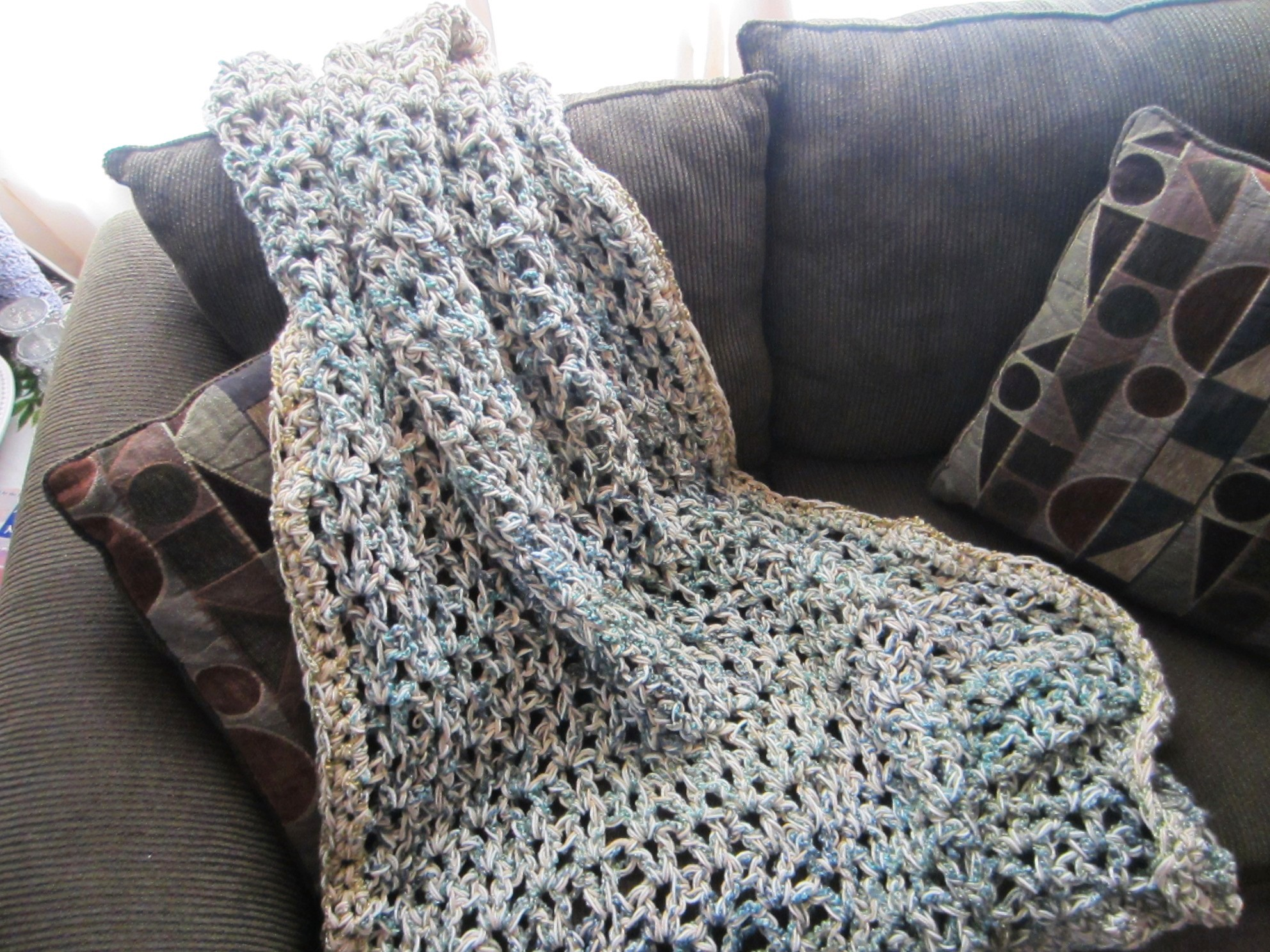 Crochet Afghan Pattern Homespun Yarn : Finished (Destash) Project . . . Crochet Throw G-Ma ...