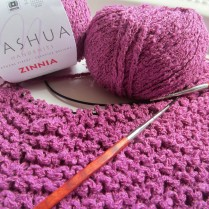 knitting, magenta, easiest shawl, Nashua yarn 002