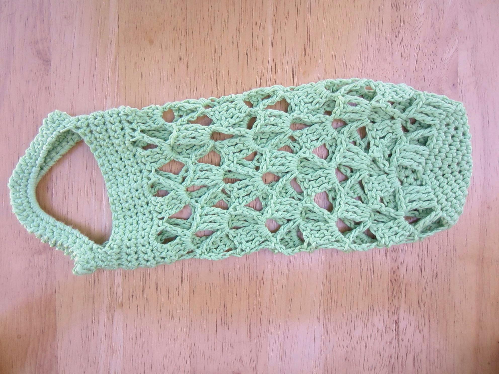 Crochet Wine Tote Prototype, Green Organic Cotton Yarn | G-Ma ...