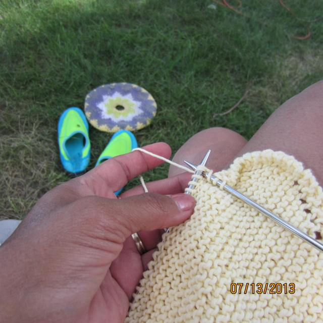 Getting in a little 'mindless' knitting time.