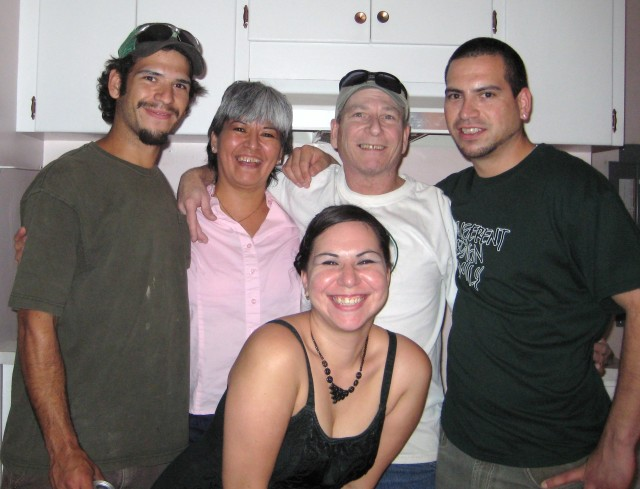 Nothing like family.  Left to right . . . Daniel, myself (Ellen), Mick, Pat.  And daughter Jess in the front.