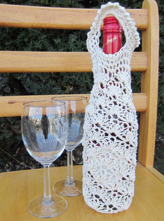Pdf Pattern Crochet Lace Shell Wine Bag Tote Cozy G Ma Ellens