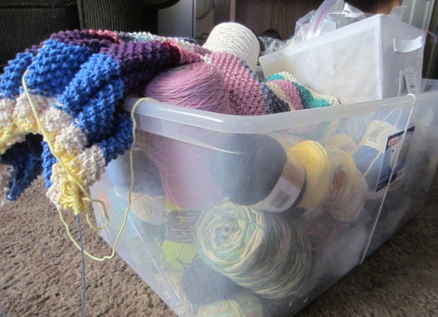 My stash bucket.  :/  You may or may not have noticed . . . I love to buy cotton yarn by the cone.  Especially when I find a good bargain!