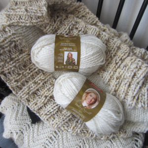 Deborah Norville Collection.  Serenity Chunky Weight Yarn, colors Almond and Pristine