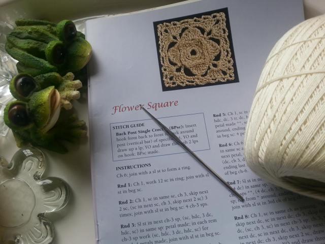 Crochet Lace Motif Bookmark, Flower Square Pattern Page