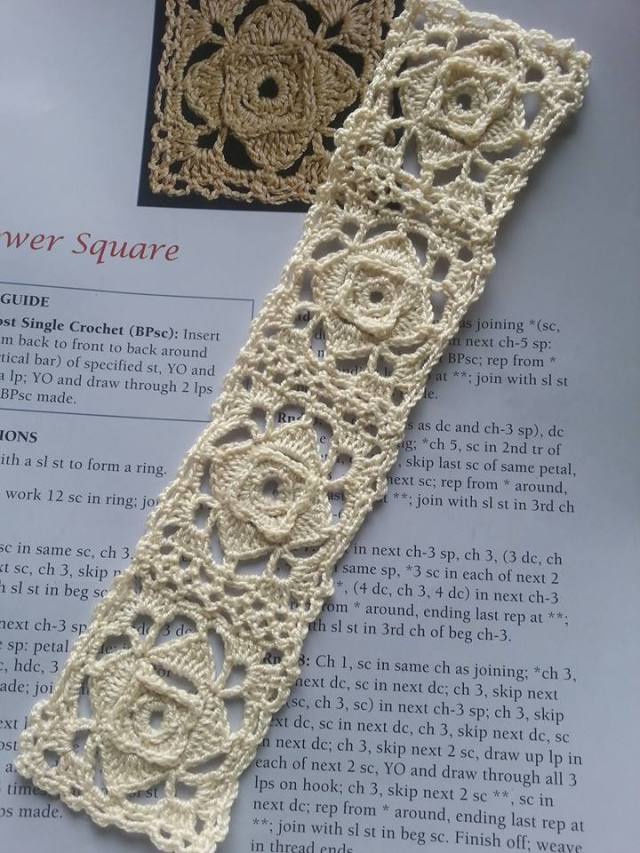 Crochet Lace Motif Bookmark, Flower Square