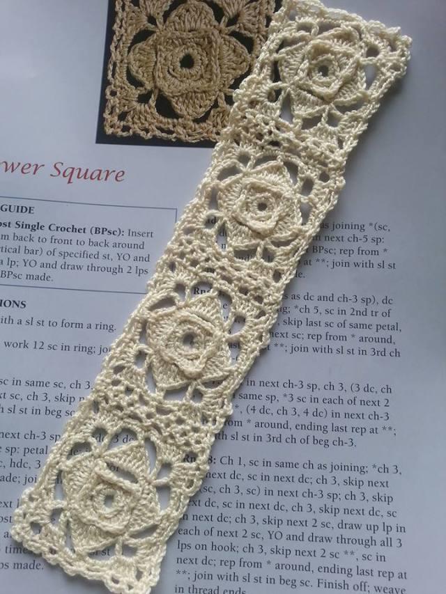 Crochet Lace Motif Bookmark, Flower Square